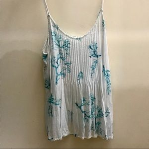 White and Blue Ocean Coral Tank Top